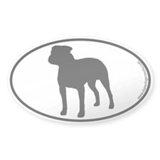 Pit Bull SILHOUETTE Oval Decal