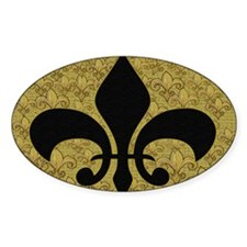 Black Fleur de lis and gold Decal