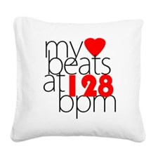 My Heart Beats At 128 BPM Ver Square Canvas Pillow