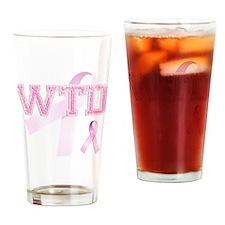 WTD initials, Pink Ribbon, Drinking Glass