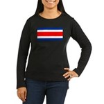 Costa Rica Flag Women's Long Sleeve Dark T-Shirt
