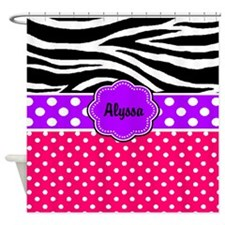 Pink Purple Zebra Personalized Shower Curtain