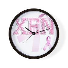 XEN initials, Pink Ribbon, Wall Clock