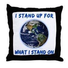 Earth Stand Throw Pillow