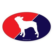US Flag Boston Terrier Oval Decal
