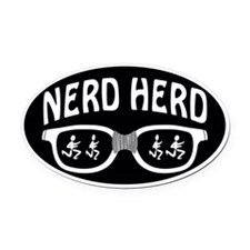 Nerd Herd Glasses Oval Black Oval Car Magnet