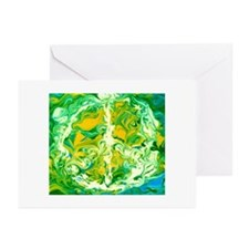 Peace Sign - Green Waves Greeting Cards (Package o
