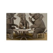 Elephants having tea party Rectangle Magnet