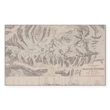 Antique map of glacier systems Decal