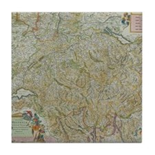 Antique map of Switzerland Tile Coaster
