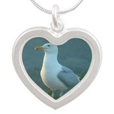 Seagulls Silver Heart Necklace