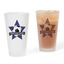 Navy Soccer Star Stitched Drinking Glass