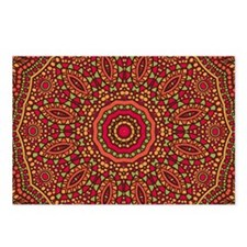 Red Orange Mosaic Flower  Postcards (Package of 8)