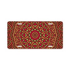 Red Mosaic Tiles kaleidosco Aluminum License Plate