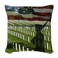 Guard at Arlington National Ce Woven Throw Pillow