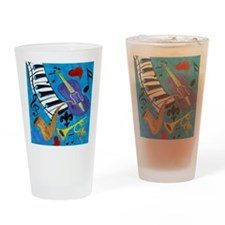 Jazz on Blue Drinking Glass