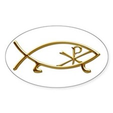 Logos Fish Chi Rho Oval Decal