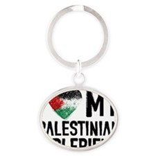 I Love My Palestine Girlfriend Oval Keychain