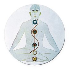 Yoga, 19th century artwork Round Car Magnet