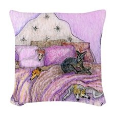 Sighthounds slumber party Woven Throw Pillow