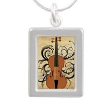 Violin Swirls Silver Portrait Necklace