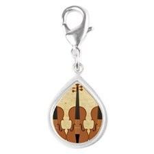 Three Violins Silver Teardrop Charm