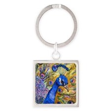 Prince Peacock Bathroom Square Keychain