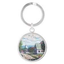 Maine in May on the coast Round Keychain
