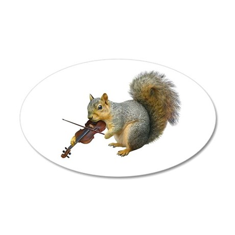 Squirrel Violin 20x12 Oval Wall Decal