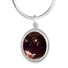 Volcanic lightning, Iceland,  Silver Oval Necklace