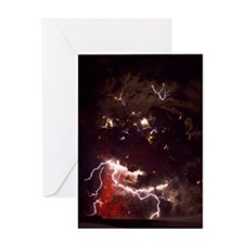 Volcanic lightning, Iceland, April 2 Greeting Card