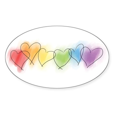 Watercolor Rainbow Hearts Oval Sticker