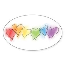 Watercolor Rainbow Hearts Oval Decal