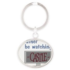 hat_ratherbe_watchingcastle_png Oval Keychain