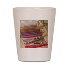 Various threads on weaving loom Shot Glass