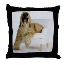 Afghan hound sitting on armchair Throw Pillow