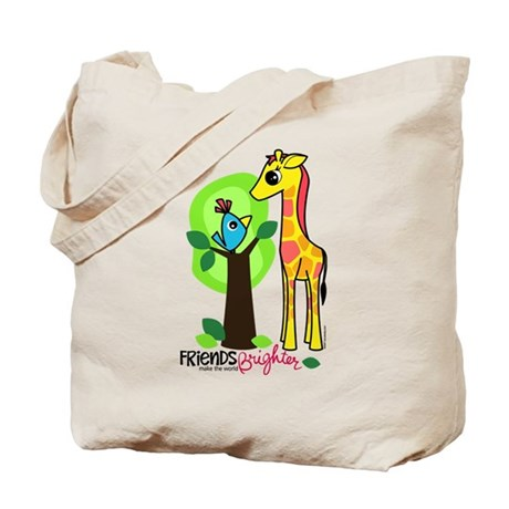 "Giraffe / Bird ""Friends"" Tote Bag"