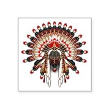 "Native War Bonnet 03 Square Sticker 3"" x 3"""