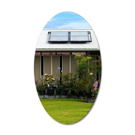 Solar water heater 35x21 Oval Wall Decal