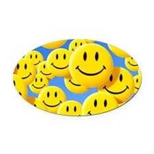 Smiley face symbols Oval Car Magnet