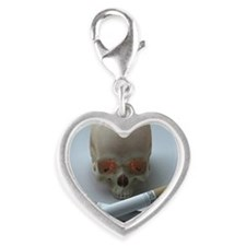 The skull and cross bones Silver Heart Charm