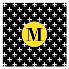 Black Fleur de Lis Monogram Invitations