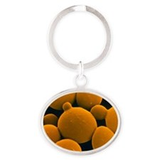 SEM of yeast cells Oval Keychain