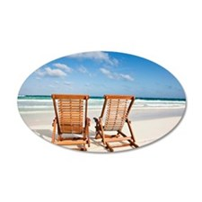 Beach chairs in the sand Wall Decal