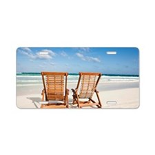 Beach chairs in the sand Aluminum License Plate
