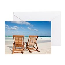 Beach chairs in the sand Greeting Card