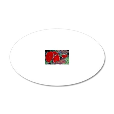 Scarlet elf cup fungi 20x12 Oval Wall Decal