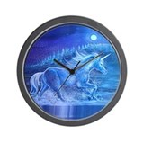 White Unicorn in River Wall Clock