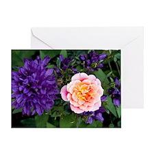 Rose flower and clustered bellflower Greeting Card
