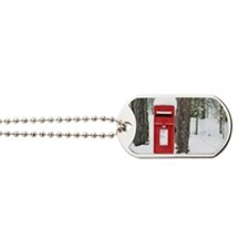 Red post box in the snow Dog Tags